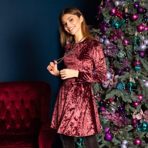 Платье мини с поясом из велюра цвет-марсала