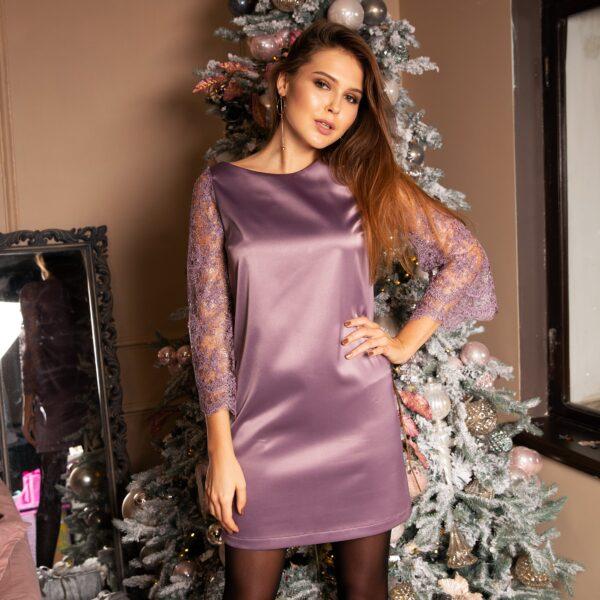 Платье мини атласное с рукавами из гипюра цвет-лавандовый