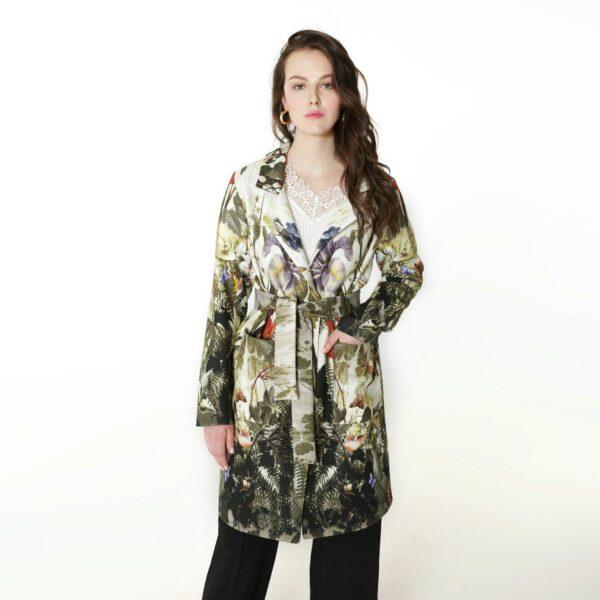 Пальто с растительным принтом