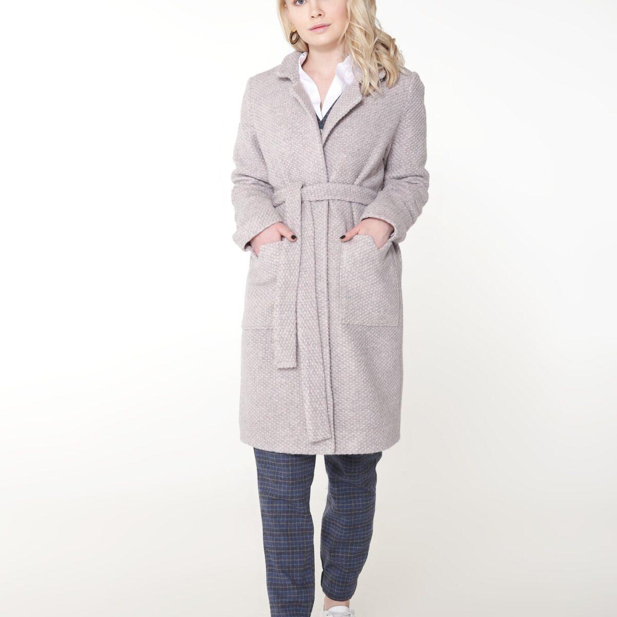 Пальто однослойное цвет серо-розовый
