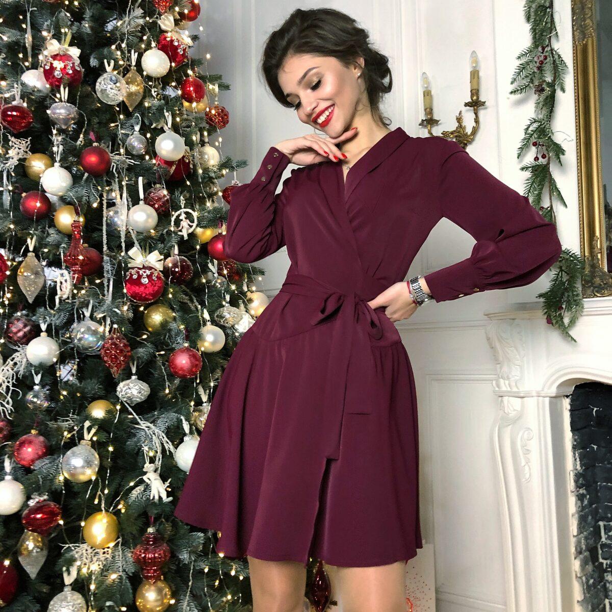 Платье мини с запахом цвета марсала