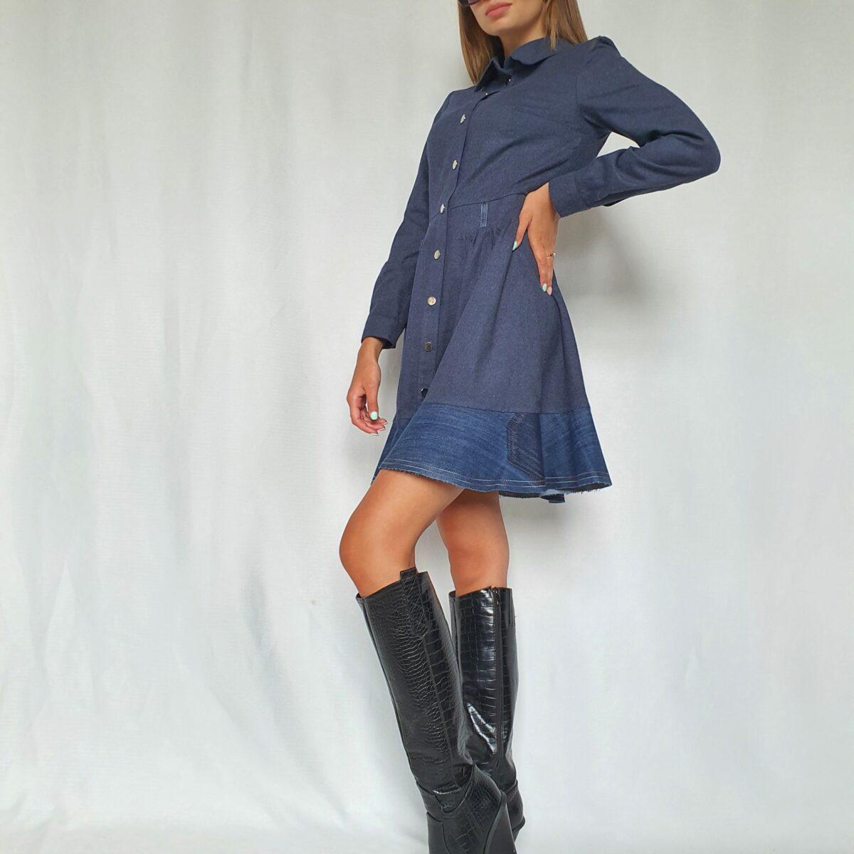 ❤ Платье-рубашка мини с отделкой из винтажного денима.