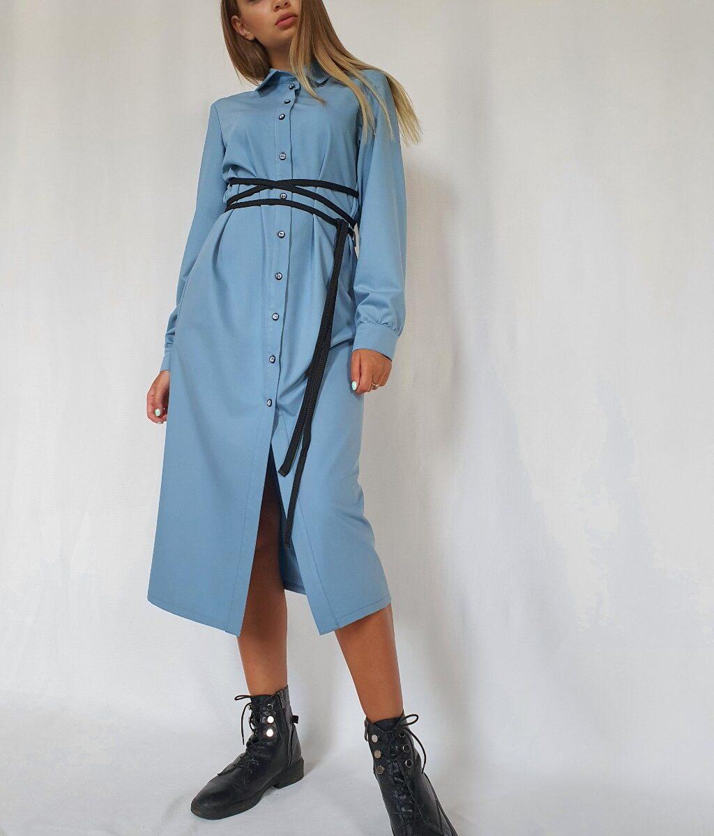 Платье-рубашка с контрастным поясом