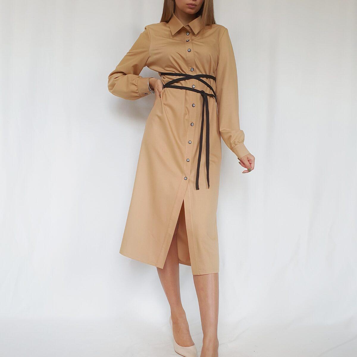 ❤ Платье- рубашка миди с контрастным поясом