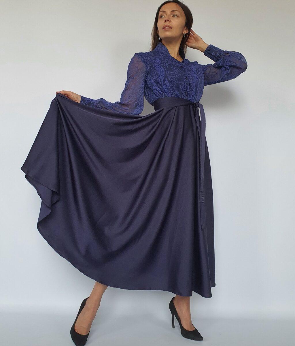 ❤ Платье-рубашка макси со струящейся юбкой. Цвет сапфировый