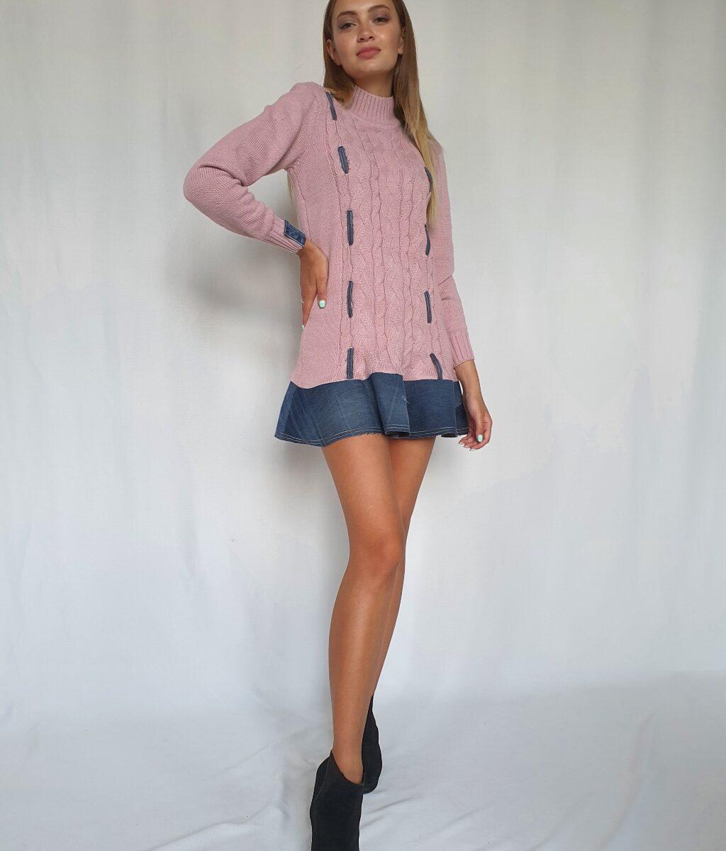 ❤ Вязаное платье c отделкой из винтажного денима. Цвет - розовый