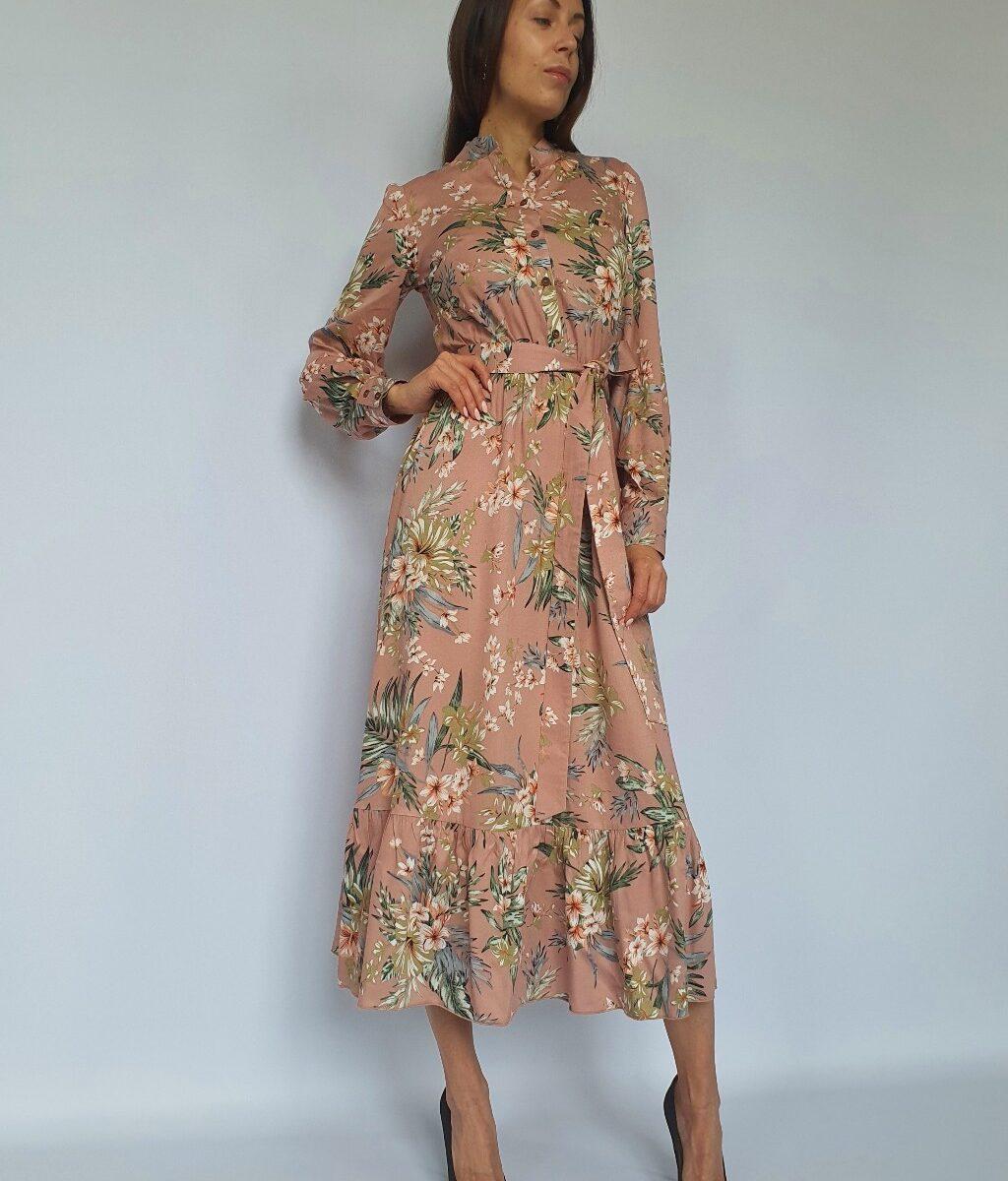 ❤ Платье-миди с оборкой. Цвет - персиковый