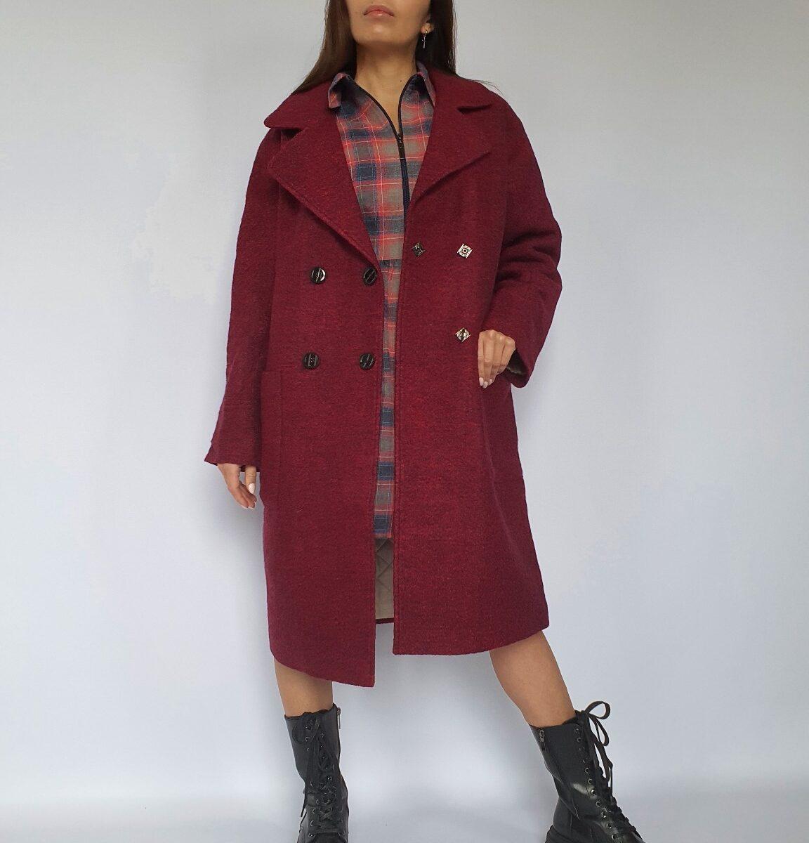 Утепленное пальто на запах
