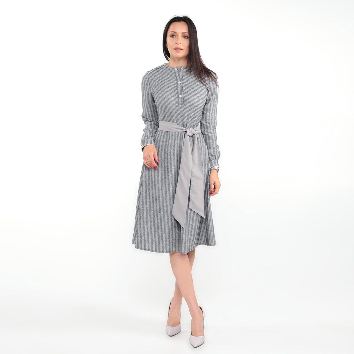 Платье-рубашка миди в полоску