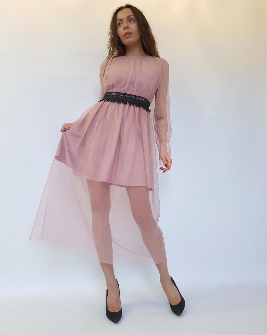 Платье миди из фатина