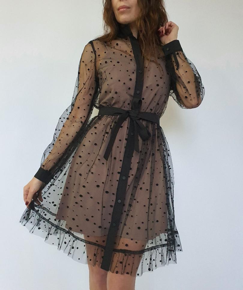 Платье-рубашка из сетки в горошек